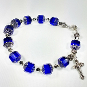Large Rosary Bracelet with Blue Czech Beads and Magnetic Clasp