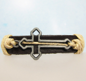 Cut-out Cross Dark Brown Adjustable Leather Bracelet