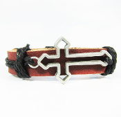 Cut-Out Cross Brown Adjustable Leather Bracelet