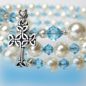 St. Mary's Inspired Rosary Bracelet With Swarovski Faux Pearls