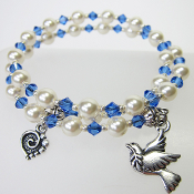 Swarovski Pearl and Blue Crystal Bead Peace and Love Bracelet