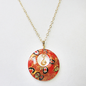 Murano Style Glass Pendant on Gold Filled 23 Inch Cable Chain