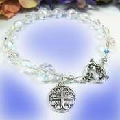 Spes Unica Cross Bracelet With Sparkly Clear Beads