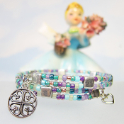 Monet Colors Double Strand Wrap Bracelet With French Cross Charm
