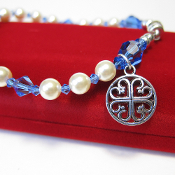 French Cross Charm Rosary Bracelet with Magnetic Clasp