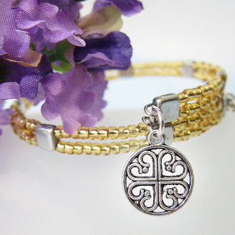 Czech Gold Color Glass Bead Bracelet with French Cross
