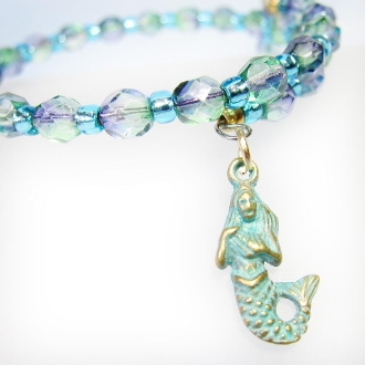 La Sirena Sea Color Czech Bead Wrap Bracelet