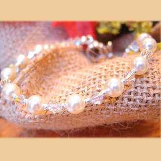 Swarovski Crystal Faux Pearl Bracelet with Large Flower Clasp