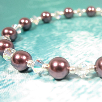 Swarovski Crystal Faux Pearls Bracelet with Pewter Flower Clasp