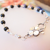 Swarovski Black Crystal Faux Pearl Bracelet with Flower Clasp