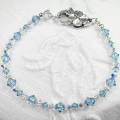 Swarovski Light Blue Crystal Bracelet with Flower Clasp