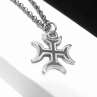 "Antiqued Pewter Lunar Cross on 22"" Gunmetal-Plated Neck Chain"