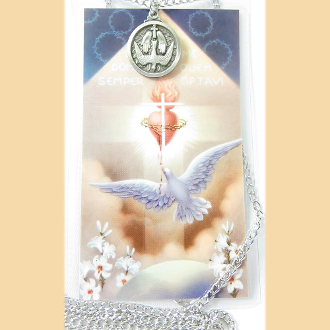 "Holy Spirit Medal and Prayer Card Set and 24"" Chain"