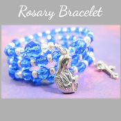 Sapphire Color Czech Bead Rosary Wrap Bracelet with Madonna