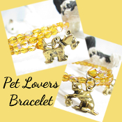 Cat and Dog Lovers Amber Color Czech Bead Bracelet