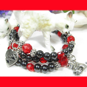 Cat Lovers Remembrance Hematite Double Wrap Bracelet
