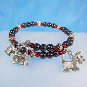Scottie Dog Hematite Remembrance Wrap Bracelet