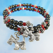 Scottie Dog Hematite Bead Remembrance Double Wrap Bracelet