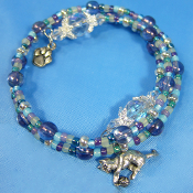 Pewter Cat Charm Wrap Bracelet With Monet's Garden Color Beads