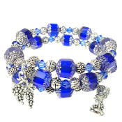 Wine Lovers Bracelet with Blue Color Czech and Swarovski Beads