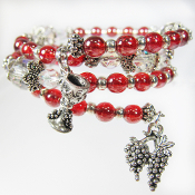 Wine Lover Red Czech Glass Wrap Bracelet With Pewter Goblet