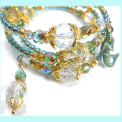 La Sirena Mermaid Czech Beach Triple Wrap Bead Bracelet