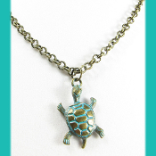 La Sirena Antiqued Brass Rollo Chain with Bronze  Pewter Turtle