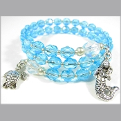 La Sirena Blue Czech Bead Double Wrap Mermaid Bracelet