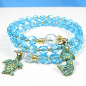 La Sirena Blue Czech Bead and Gold Toho Double Wrap Bracelet
