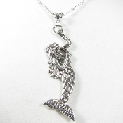 La Sirena Mermaid Pendant on 20 Inch Sterling Silver Chain