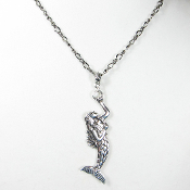 La Sirena Mermaid Pendant on 20 Inch Gunmetal Figaro Chain
