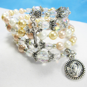 Our Lady Shell Pearls Rosary Wrap Bracelet
