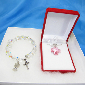 Swarovski Pink Pendant First Communion Necklace and Bracelet Set