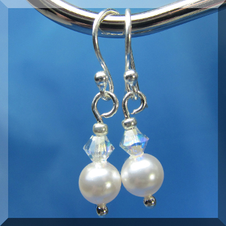 Swarovski Crystal Faux White Pearl Dangle Earrings