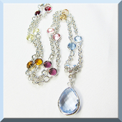 Blue Quartz Pendant Necklace with Swarovski Crystals