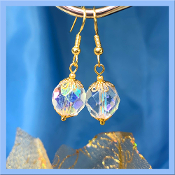Czech Fire Polished Faceted Dangle Earrings
