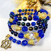Czech Sapphire Color Bead Multi Wrap Bracelet with Celtic Charm