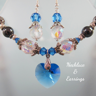 Swarovski Sapphire Color Necklace and Earrings Set