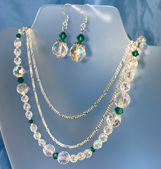Sparkly Necklace and Earrings Set with Swarovski Emerald Crystal