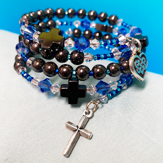 Rosary Bracelet With Hematite and Swarovski with Celtic Charm