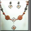 Red Jasper and Black Hematite Bead Necklace and Earrings Set